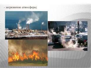 - загрязнение атмосферы;