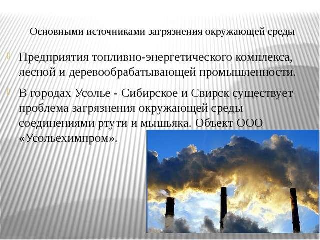 Основными источниками загрязнения окружающей среды Предприятия топливно-энерг...