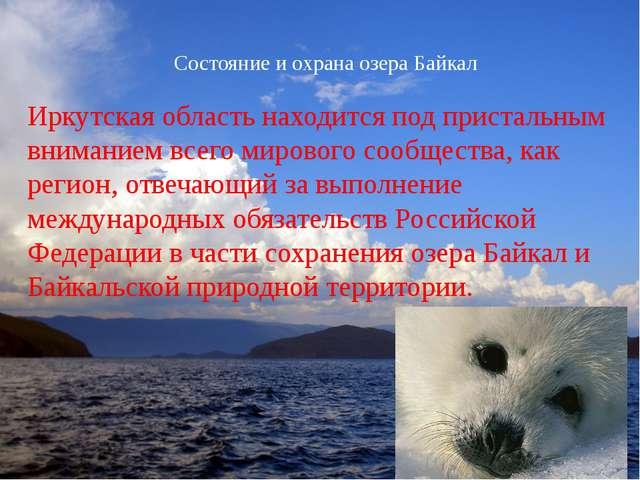 Состояние и охрана озера Байкал Иркутская область находится под пристальным в...