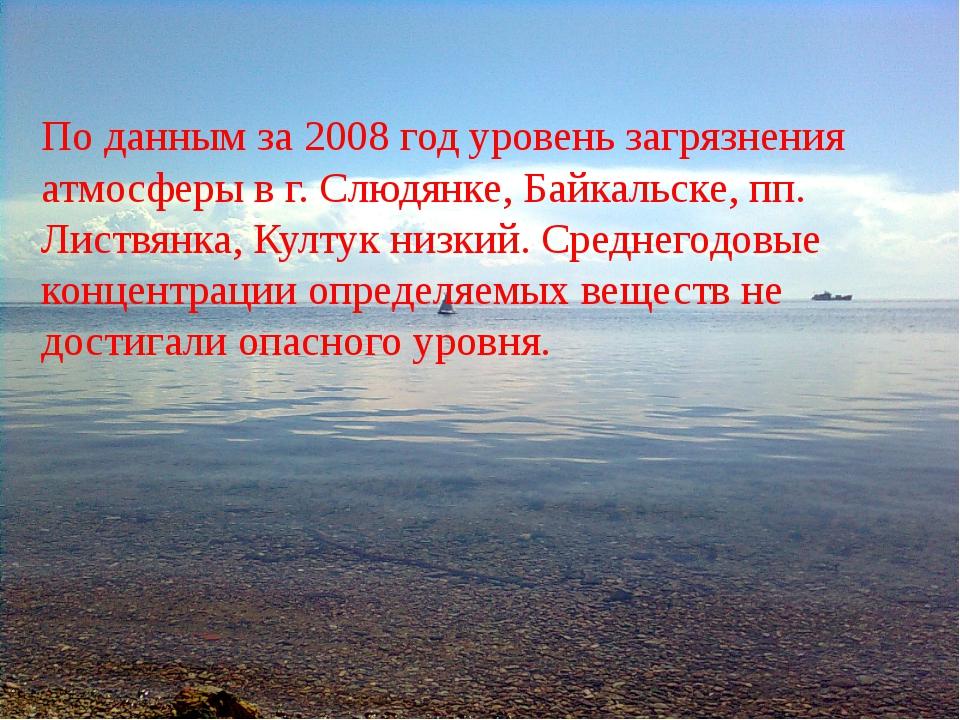 По данным за 2008 год уровень загрязнения атмосферы в г. Слюдянке, Байкальске...