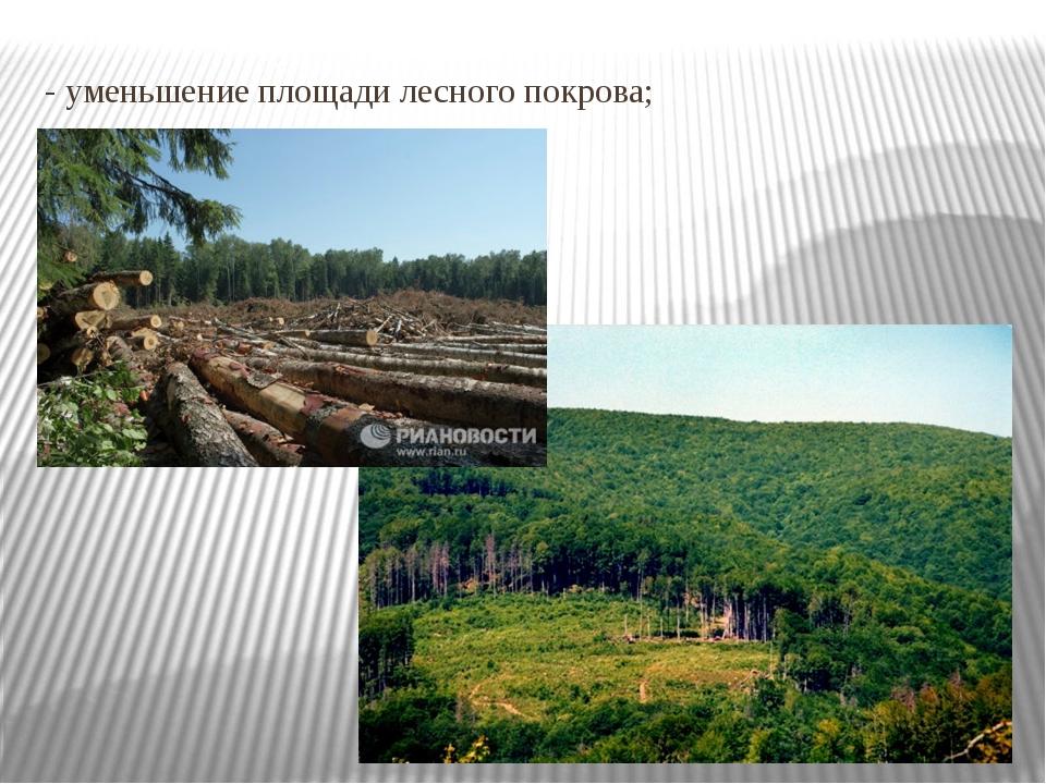 - уменьшение площади лесного покрова;