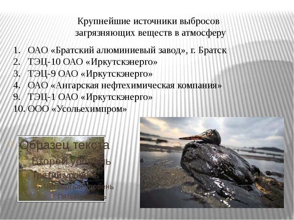 Крупнейшие источники выбросов загрязняющих веществ в атмосферу ОАО «Братский...