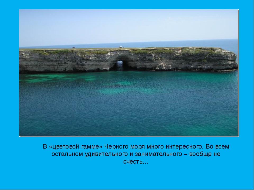 В «цветовой гамме» Черного моря много интересного. Во всем остальном удивител...
