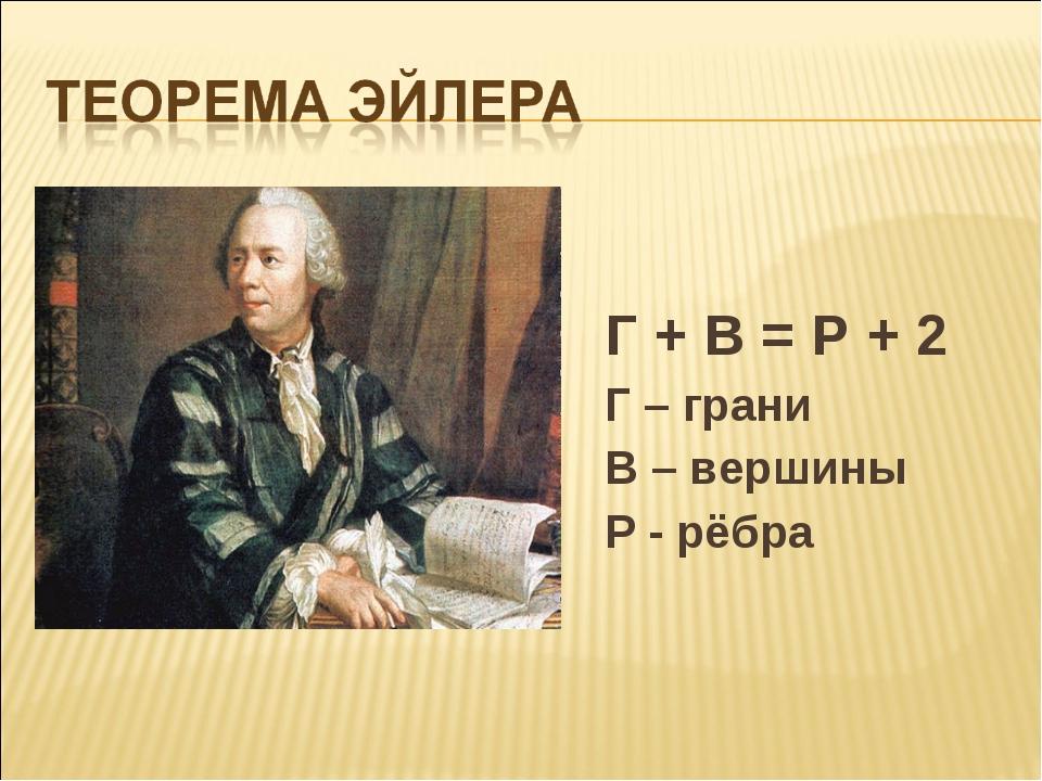 Г + В = Р + 2 Г – грани В – вершины Р - рёбра