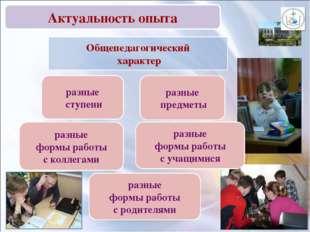 Общепедагогический характер разные ступени разные формы работы с родителями