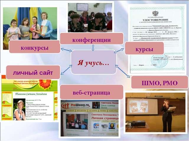 Я учусь… личный сайт конкурсы конференции курсы ШМО, РМО веб-страница