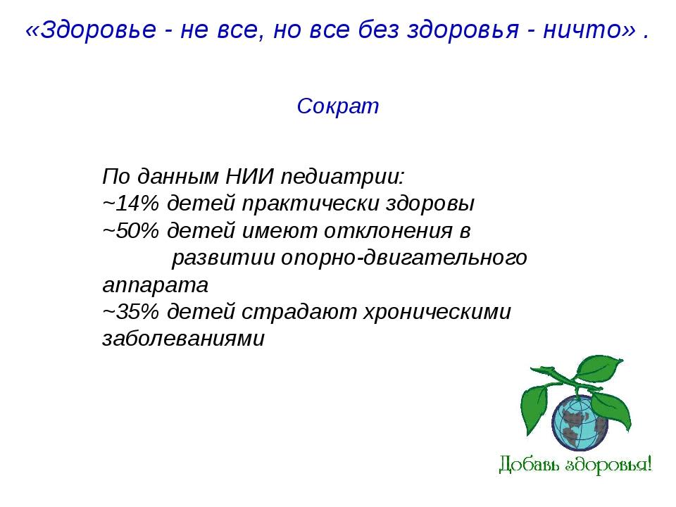 «Здоровье - не все, но все без здоровья - ничто». Сократ По данным НИИ педиа...
