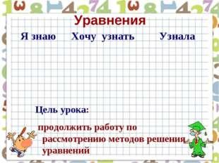 Цель урока: продолжить работу по рассмотрению методов решения уравнений Уравн