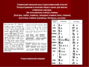 Славянский книжный язык (старославянский) получил Распространение в качестве