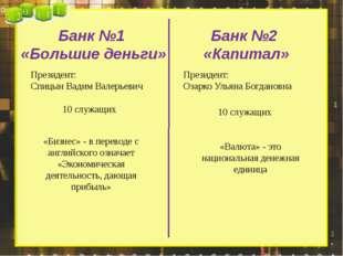 Банк №1 «Большие деньги» Банк №2 «Капитал» Президент: Спицын Вадим Валерьевич