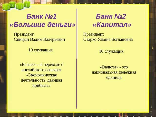 Банк №1 «Большие деньги» Банк №2 «Капитал» Президент: Спицын Вадим Валерьевич...