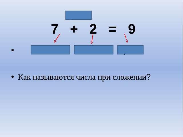 7 + 2 = 9 слагаемое слагаемое сумма Как называются числа при сложении? сумма