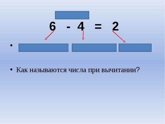 6 - 4 = 2 уменьшаемое вычитаемое разность Как называются числа при вычитании?...