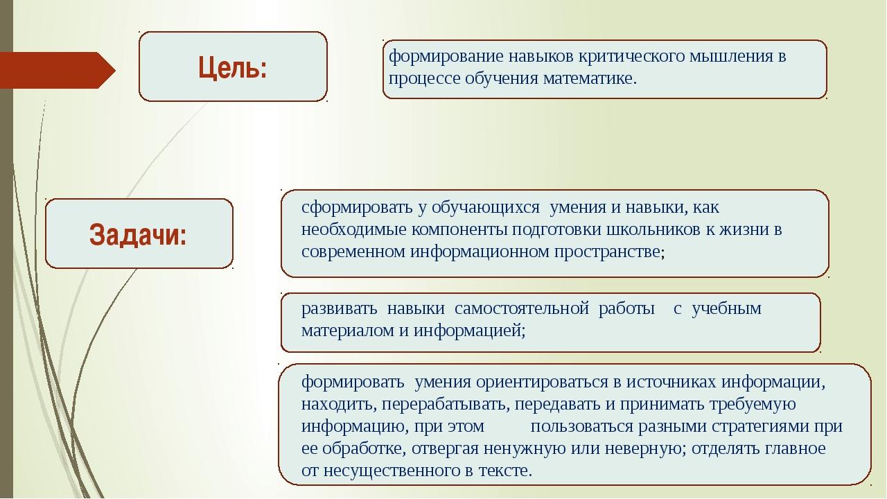 Цель: Задачи: формирование навыков критического мышления в процессе обучения...