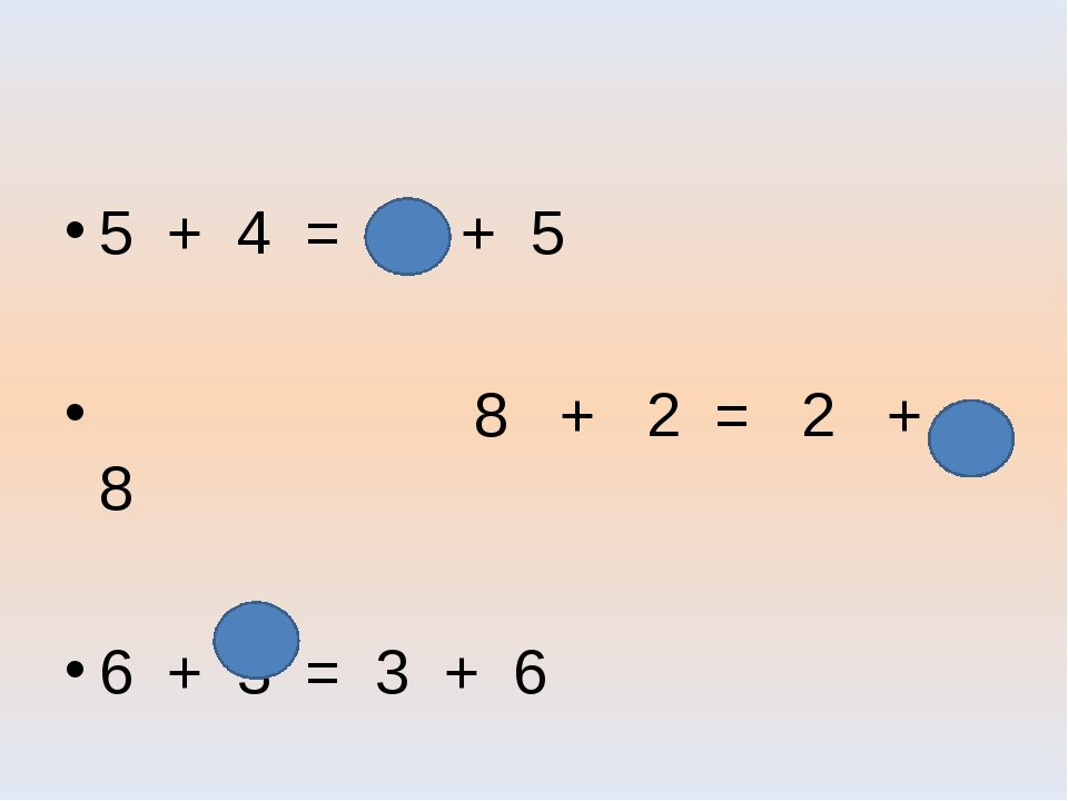 5 + 4 = 4 + 5 8 + 2 = 2 + 8 6 + 3 = 3 + 6