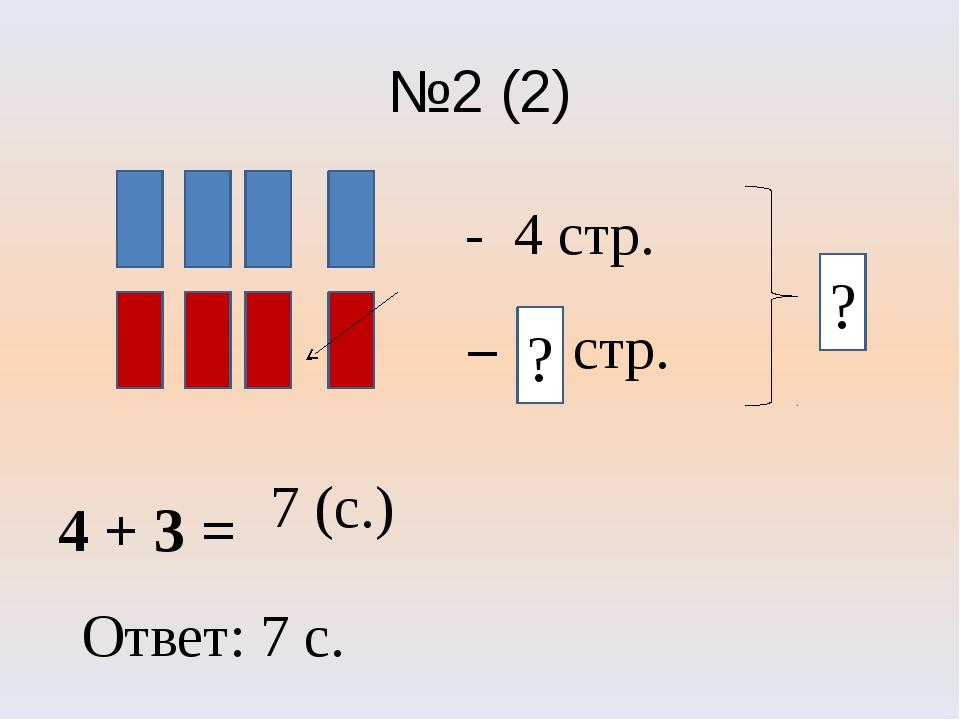 №2 (2) 4 + 3 = 7 (с.) - 4 стр. - 3 стр. Ответ: 7 с. - ? ?