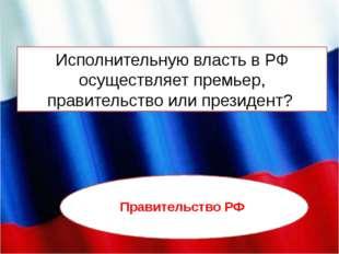 Исполнительную власть в РФ осуществляет премьер, правительство или президент?