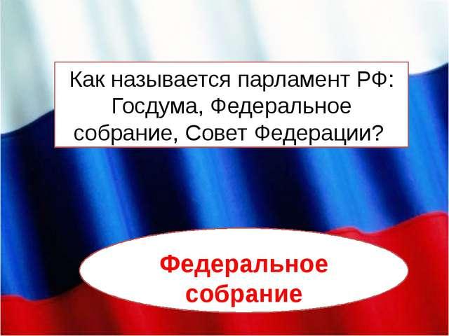 Как называется парламент РФ: Госдума, Федеральное собрание, Совет Федерации?...
