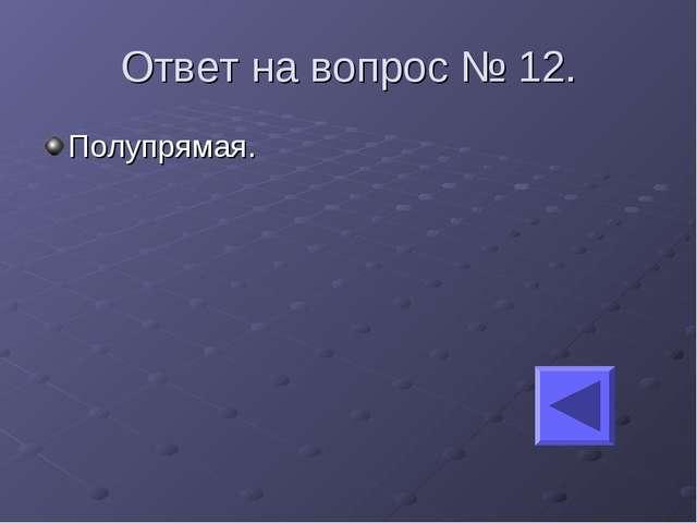 Ответ на вопрос № 12. Полупрямая.