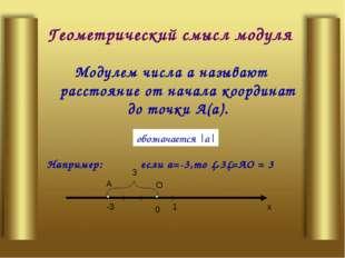 Геометрический смысл модуля Модулем числа а называют расстояние от начала коо