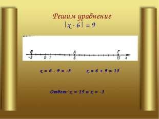 Решим уравнение |х - 6| = 9 х= 6 + 9 = 15 х= 6 - 9 = -3 Ответ: х= 15 их