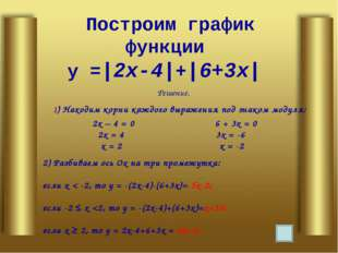 Построим график функции у =|2х-4|+|6+3х| Решение. 1) Находим корни каждого вы