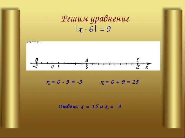 Решим уравнение |х - 6| = 9 х= 6 + 9 = 15 х= 6 - 9 = -3 Ответ: х= 15 их...