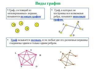 Виды графов Граф, состоящий из «изолированных» вершин, называется нулевым гр