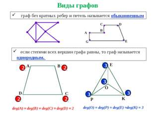 граф без кратных ребер и петель называется обыкновенным если степени всех ве