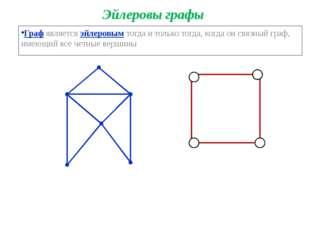 Эйлеровы графы Граф является эйлеровым тогда и только тогда, когда он связный
