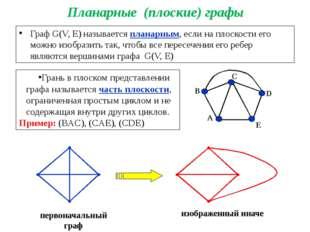 Планарные (плоские) графы Граф G(V, E) называется планарным, если на плоскост