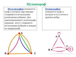 Мультиграфом называется граф, в котором пара вершин соединяется несколькими р