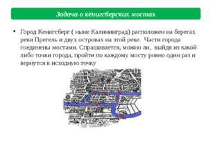 Город Кенигсберг ( ныне Калининград) расположен на берегах реки Прегель и дву