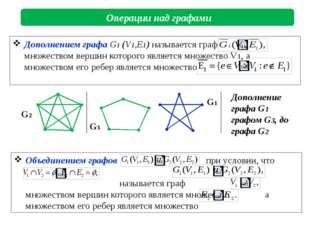Операции над графами G2 G1 G3 Дополнение графа G1 графом G3, до графа G2 Объ