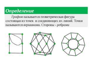 Определение Графом называется геометрическая фигура состоящая из точек и соед