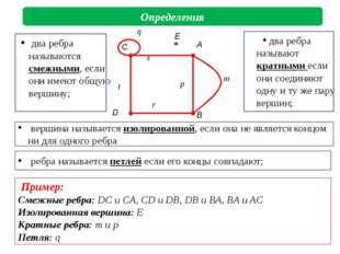 ребра называется петлей если его концы совпадают; Определения Пример: Смежны