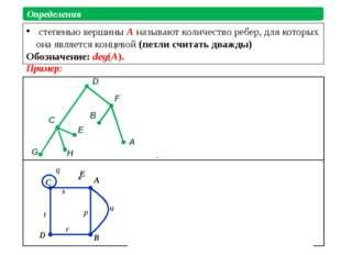 степенью вершины A называют количество ребер, для которых она является конце