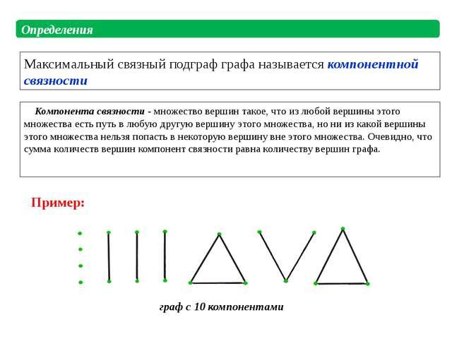 Компонента связности - множество вершин такое, что из любой вершины этого мн...