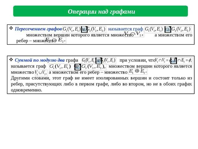 Операции над графами Пересечением графов называется граф множеством вершин...