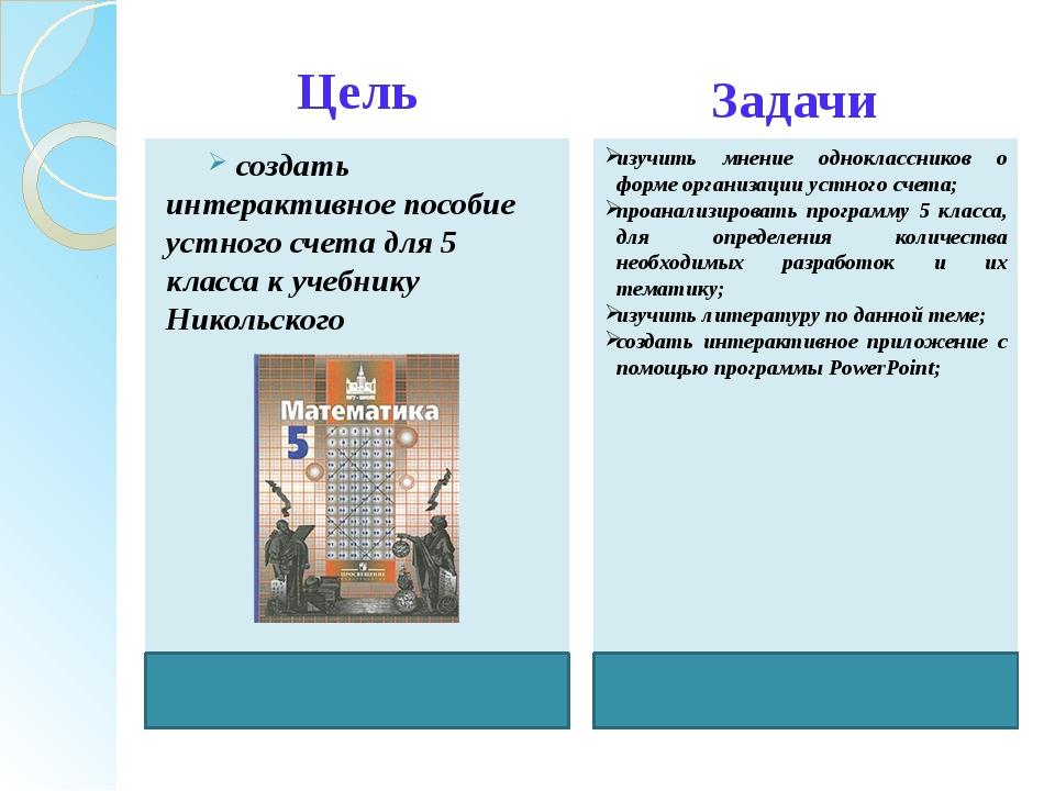 Цель создать интерактивное пособие устного счета для 5 класса к учебнику Нико...