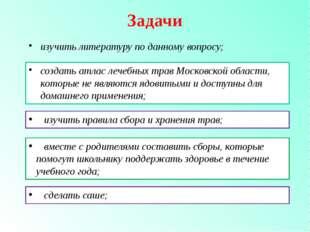 Задачи изучить литературу по данному вопросу; создать атлас лечебных трав Мос