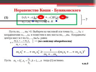 Неравенство Коши - Буняковского Пусть m1, …, mn >0. Выберем на числовой оси т