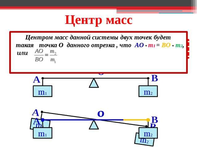 Центр масс A B m1 m2 ! m2 > m1 O O Центром масс данной системы двух точек буд...