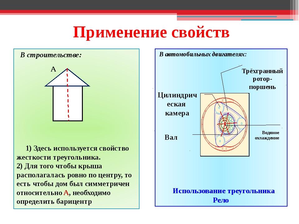 Применение свойств В строительстве: 1) Здесь используется свойство жесткости...