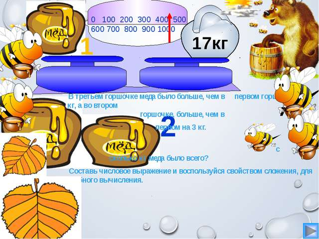 0 100 200 300 400 500 600 700 800 900 1000 2 1 В третьем горшочке меда было...