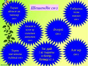 Шешендік сөз Тауып айтылған тапқыр сөз Ақылға қозғау салатын даналық сөз Әсе