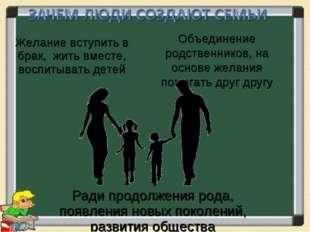 Желание вступить в брак, жить вместе, воспитывать детей Ради продолжения рода