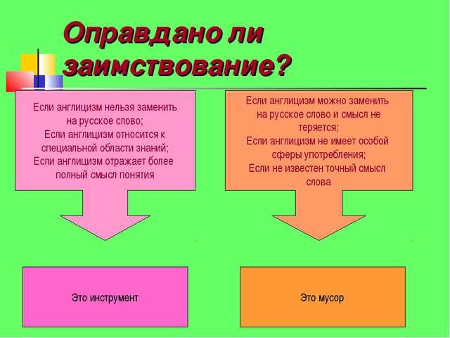 Оправдано ли заимствование? Если англицизм нельзя заменить на русское слово;...
