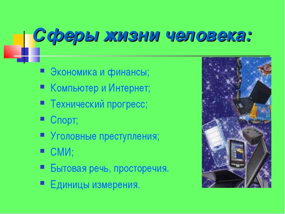 Сферы жизни человека: Экономика и финансы; Компьютер и Интернет; Технический...