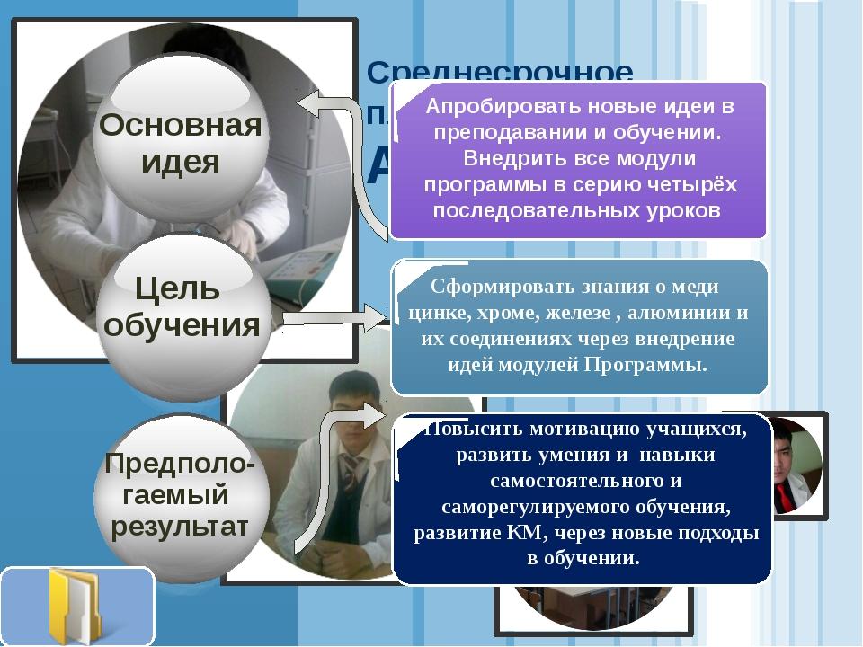 Среднесрочное планирование Аубакиров А.У. Сформировать знания о меди цинке, х...
